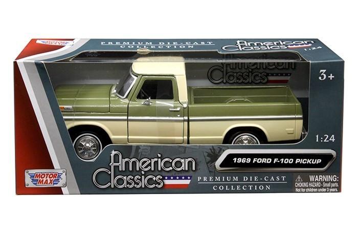 1969 Ford F-100 Pickup Truck Green and Cream 1/24 Diecast Model Car Motormax 79315