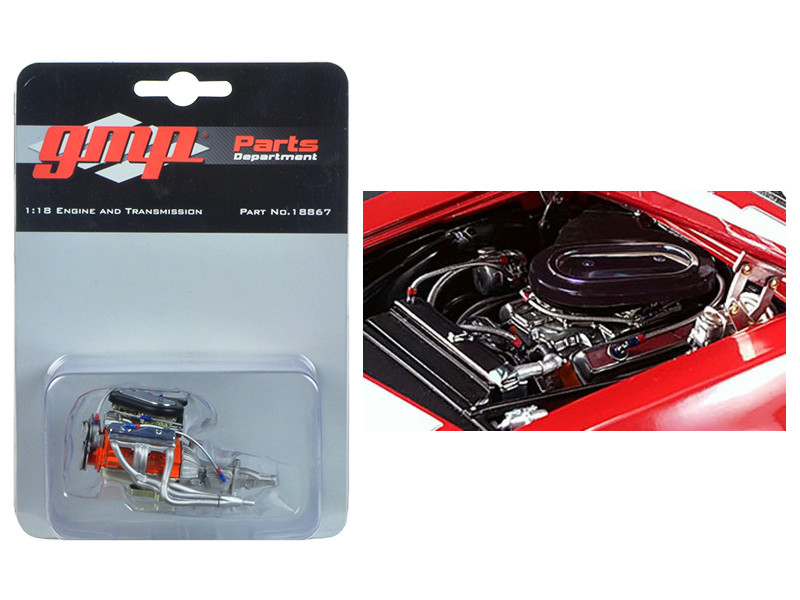 Trans Am 302 Engine and Transmission Replica from 1967 Chevrolet Camaro Z/28 Chevy-Land Heinrich 1/18 Model GMP 18867