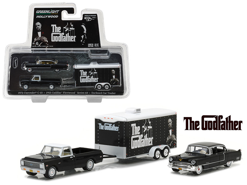 1972 Chevrolet C-10 with 1955 Cadillac Fleetwood Series 60 Special in Enclosed Car Trailer The Godfather Movie 1972 Hollywood Hitch & Tow Series 3 1/64 Diecast Model Cars Greenlight 31030 B