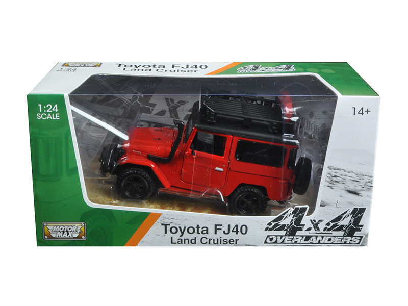 Toyota FJ40 Land Cruiser Red 4x4 Overlanders Series 1/24 Diecast Model Car Motormax 79137