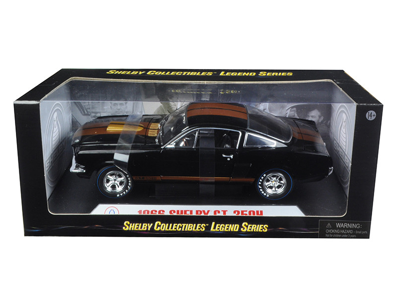 1966 Ford Mustang Shelby GT 350 Hertz Black Gold Stripes 1/18 Diecast Model Car Shelby Collectibles SC360