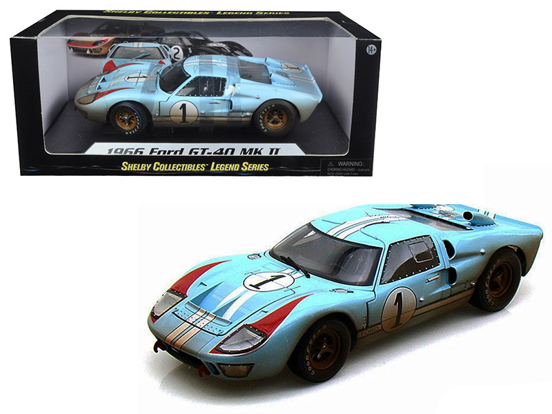 1966 Ford GT-40 MK 2 Gulf Blue Dirty Version #1 1/18 Diecast Car Model Shelby Collectibles SC405