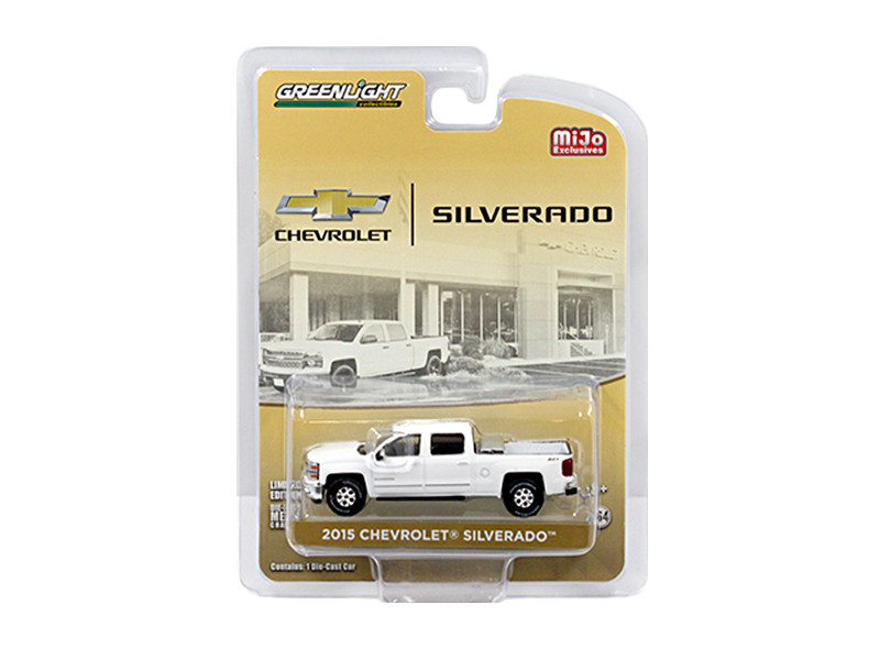 2015 Chevrolet Silverado Pickup Truck White with Tow Hitch and Tool Box Limited Edition to 2400pcs 1/64 Diecast Model Car Greenlight 51109 A