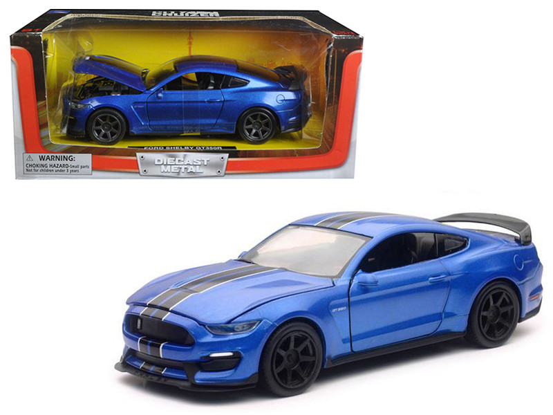 2016 Ford Shelby Mustang GT350R Blue with Black Stripes 1/24 Diecast Model Car New Ray SS-71833