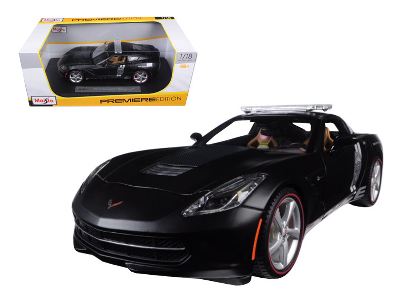 2014 Chevrolet Corvette C7 Stingray Police Matt Black 1/18 Diecast Model Car Maisto 36212