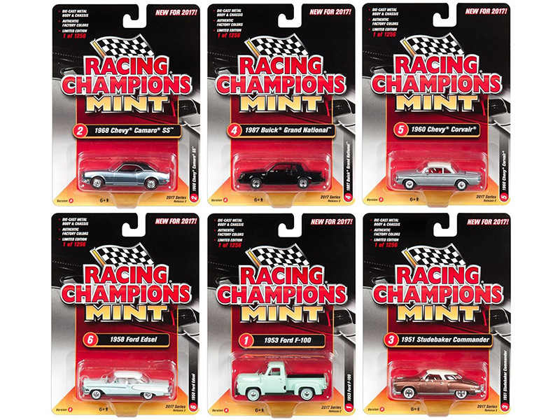 2017 Mint Release 2 Set A Set of 6 Cars 1/64 Diecast Model Cars Racing Champions RC004 A