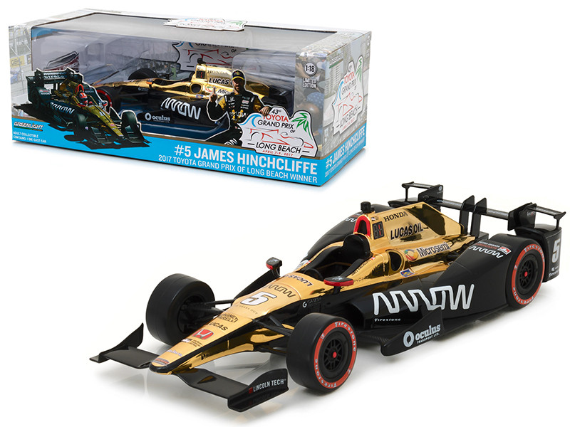 2017 Toyota Grand Prix of Long Beach Winner Car #5 James Hinchcliffe Schmidt Peterson Motorsports Arrow 1/18 Diecast Model Car Greenlight 11017