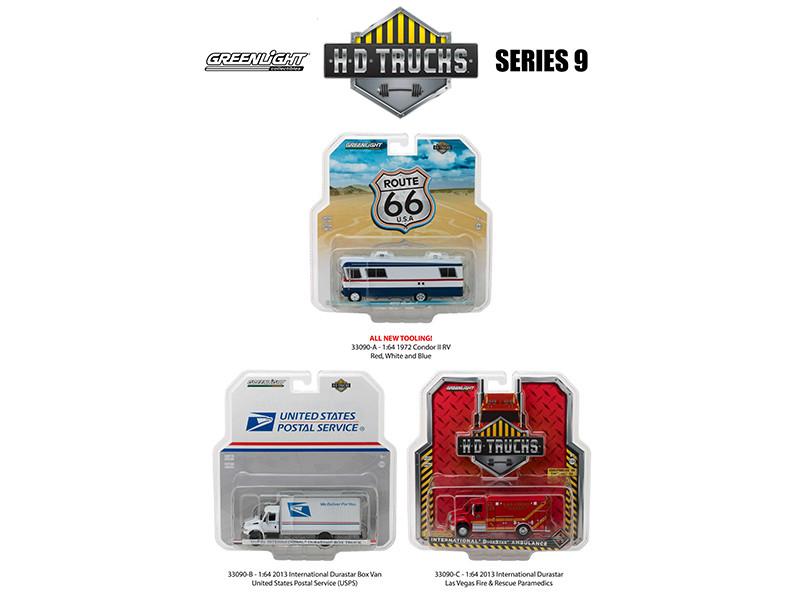 Heavy Duty Trucks Series 9 Set of 3 Trucks 1/64 Diecast Models Greenlight 33090