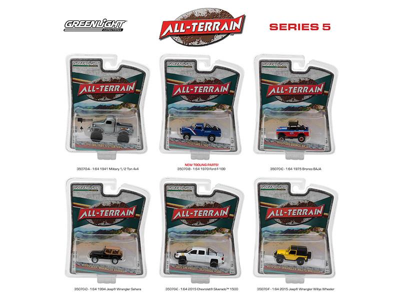All Terrain Series 5 6pc Diecast Car Set 1/64 Diecast Model Cars Greenlight 35070