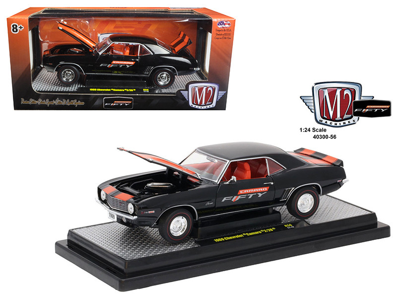 1969 Chevrolet Camaro Z/28 Black and Orange Stripes Camaro Fifty Years Anniversary 1/24 Diecast Model Car M2 Machines 40300-56 B