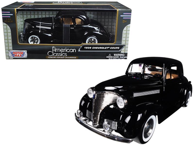 1939 Chevrolet Coupe Black 1/24 Diecast Model Car Motormax 73247