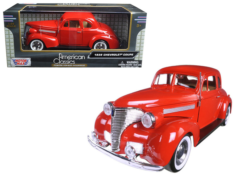 1939 Chevrolet Coupe Red 1/24 Diecast Model Car Motormax 73247
