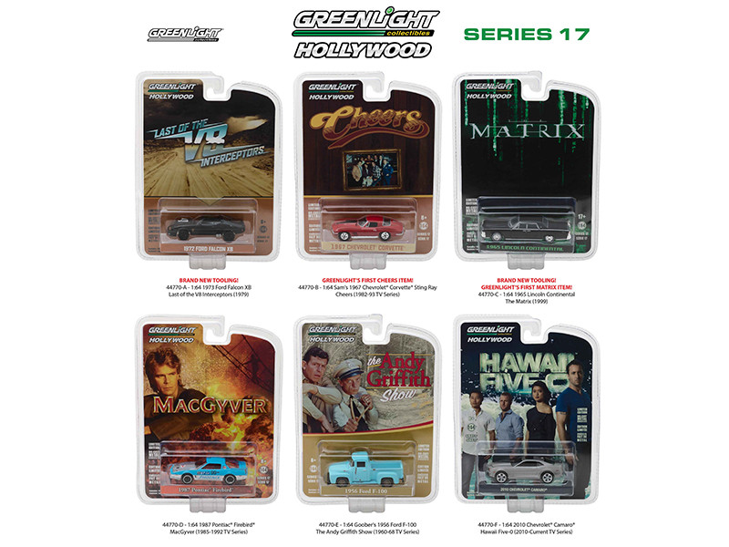 Hollywood Series Release 17 6pc Diecast Car Set 1/64 Diecast Model Cars Greenlight 44770