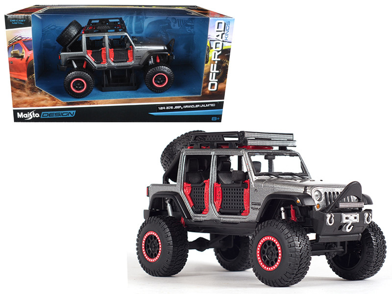 2015 Jeep Wrangler Unlimited Grey Off Road Kings 1/24 Diecast Model Car Maisto 32523