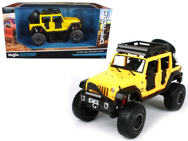 2015 Jeep Wrangler Unlimited Yellow Off Road Kings 1/24 Diecast Model Car Maisto 32523