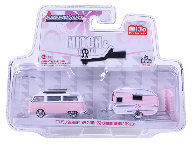 1974 Volkswagen Type 2 Bus Pink and 1958 Catolac Deville Trailer Hitch & Tow Series Limited Edition to 2898pcs 1/64 Diecast Model Car Greenlight 51114 A