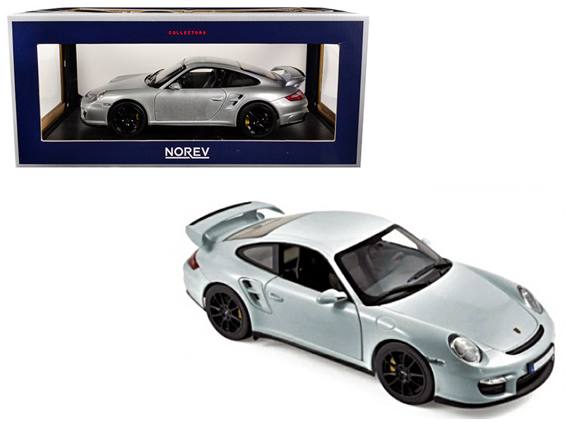 2007 Porsche 911 GT2 Silver with Black Wheels 1/18 Diecast Model Car Norev 187594