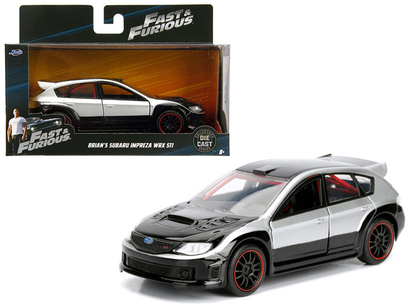 Brian's Subaru Impreza WRX STI Silver and Black Fast & Furious Movie 1/32 Diecast Model Car Jada 98507