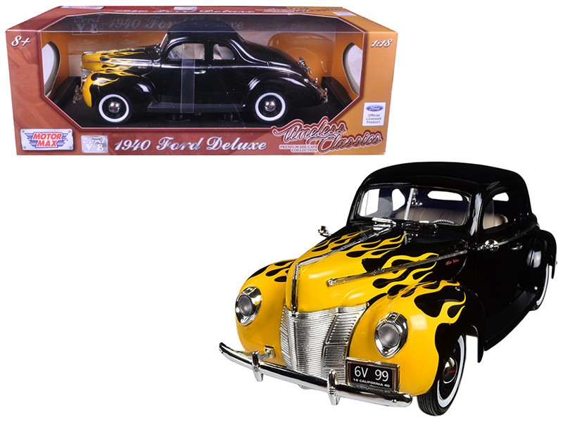 1940 Ford Deluxe Black with Yellow Flames Timeless Classics 1/18 Diecast Model Car Motormax 73108