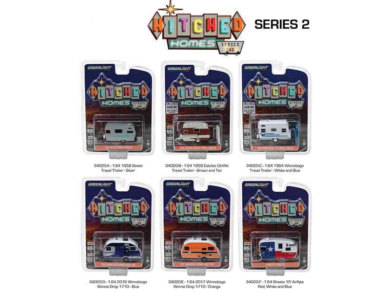 Hitched Homes Series 2 6pc Trailer Set Diecast Models 1/64 Greenlight 34020