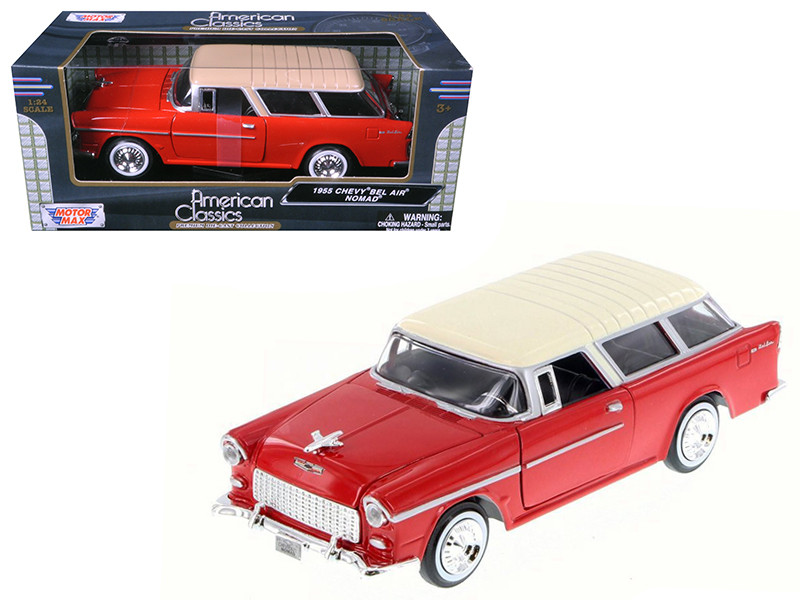1955 Chevrolet Nomad Red 1/24 Diecast Model Car Motormax 73248