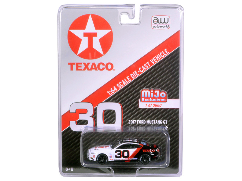 2017 Ford Mustang GT Texaco Racing #30 Black and White Limited Edition to 3600pcs 1/64 Diecast Model Car Autoworld CP7438