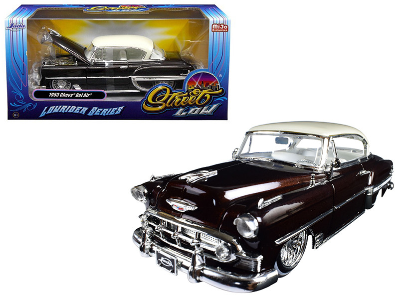 1953 Chevrolet Bel Air Brown Lowrider Series Street Low 1/24 Diecast Model Car Jada 98916