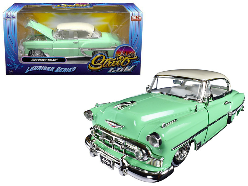1953 Chevrolet Bel Air Light Green Lowrider Series Street Low 1/24 Diecast Model Car Jada 98917