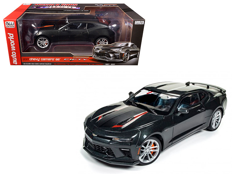 2017 Chevrolet Camaro SS Nightfall Gray Metallic 50th Anniversary Limited Edition to 1002pc 1/18 Diecast Model Car Autoworld AW243