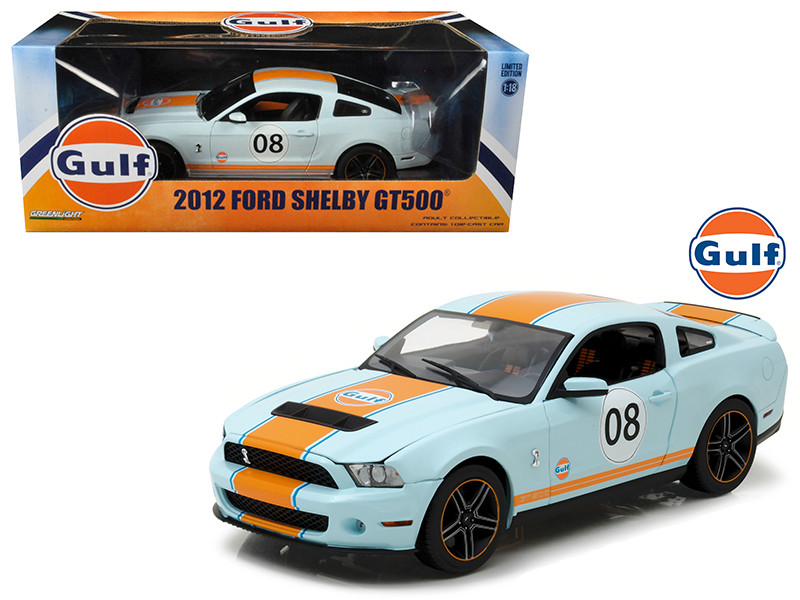 2012 Ford Mustang Shelby GT500 Gulf Oil #08 1/18 Diecast Model Car Greenlight 12990