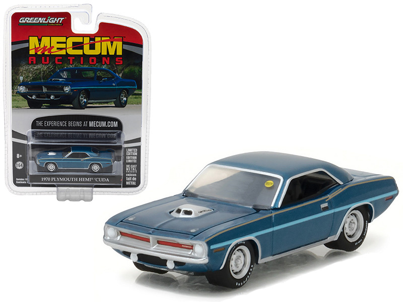 1970 Plymouth HEMI Cuda Jamaica Blue Mecum Auctions Collector Series 1 1/64 Diecast Model Car Greenlight 37110 D