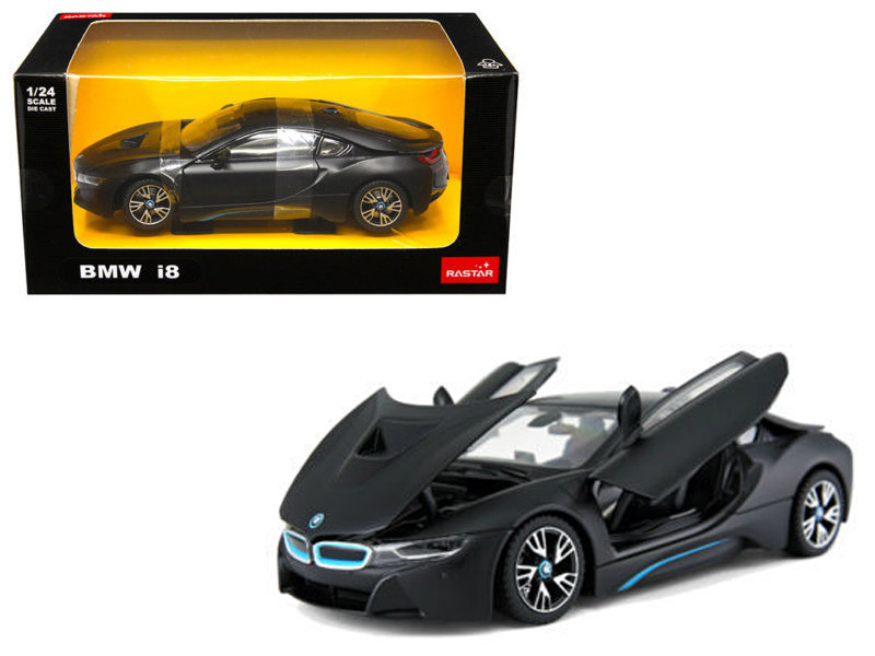 BMW I8 Matt Black 1/24 Diecast Model Car Rastar 56500