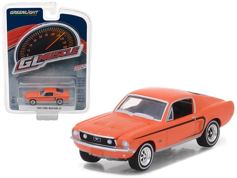 1968 Ford Mustang GT Madagascar Orange Greenlight Muscle Series 19 1/64 Diecast Model Car Greenlight 13190 A