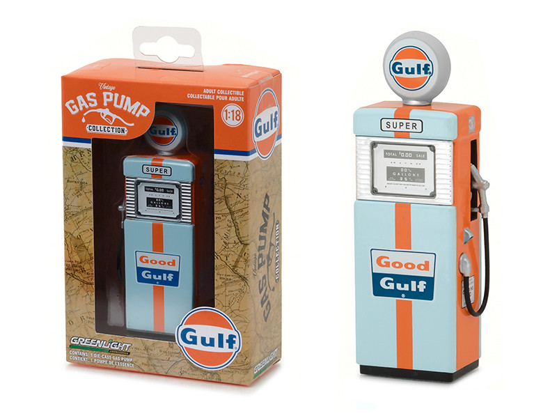 1951 Wayne 505 Gulf Oil Gas Pump Replica Vintage Gas Pump Series 1 1/18 Diecast Model Greenlight 14010 A