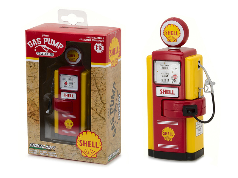 1948 Wayne 100-A Shell Oil Gas Pump Replica Vintage Gas Pump Series 1 1/18 Diecast Model Greenlight 14010 B