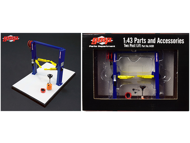 Two Post Lift Blue and Yellow For 1/43 Scale Diecast Model Cars GMP 14301