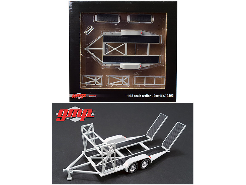 Tandem Car Trailer with Tire Rack Grey For 1/43 Scale Diecast Model Cars GMP 14303