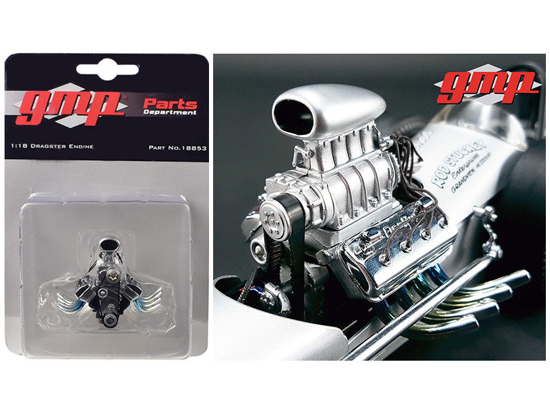 Blown Drag Engine and Transmission Replica from The Chizler V Vintage Dragster 1/18 Model GMP 18853