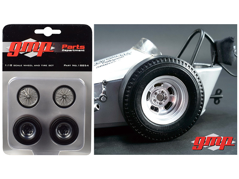 Vintage Dragster Wheels and Tires Set of 4 from The Chizler V Vintage Dragster 1/18 Model GMP 18854