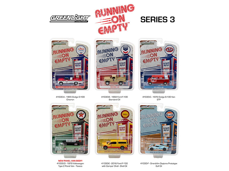 Running on Empty Series 3 6pc Diecast Car Set 1/64 Diecast Model Cars Greenlight 41030
