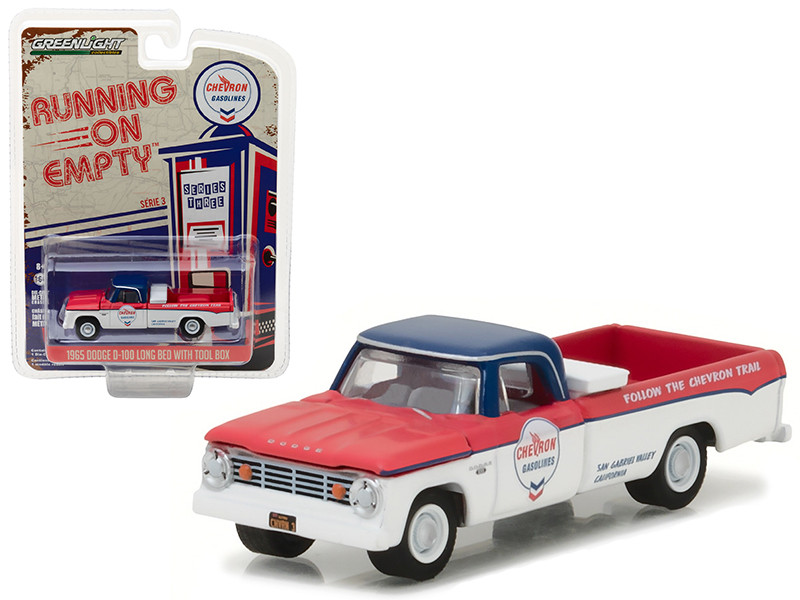 1965 Dodge D-100 Pickup Truck Chevron Long Bed with Tool Box Running on Empty Series 3 1/64 Diecast Model Car Greenlight 41030 A