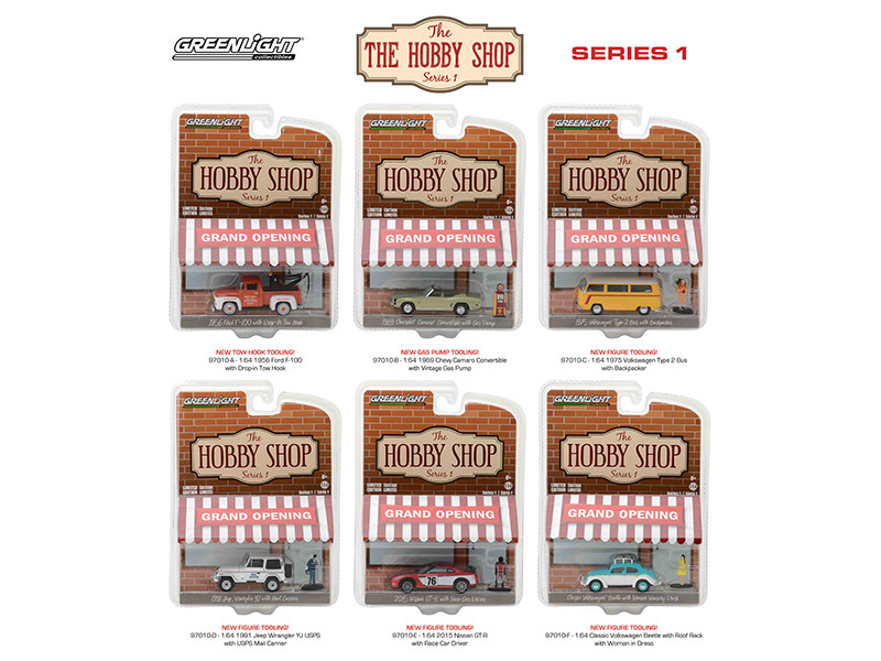 The Hobby Shop Series 1 6pc Diecast Car Set 1/64 Diecast Model Cars Greenlight 97010