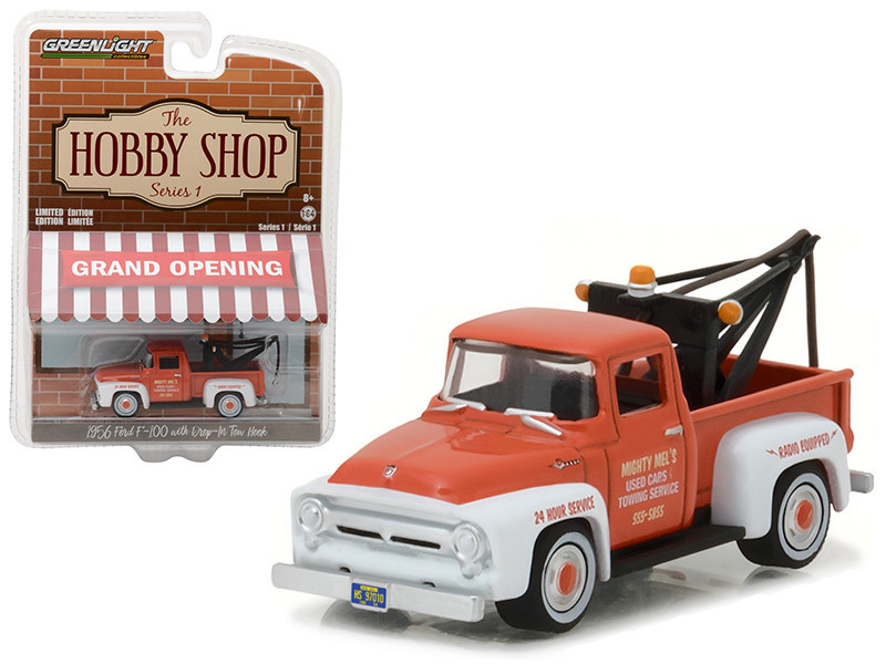1956 Ford F-100 Red and White with Drop-in Tow Hook The Hobby Shop Series 1 1/64 Diecast Model Car Greenlight 97010 A