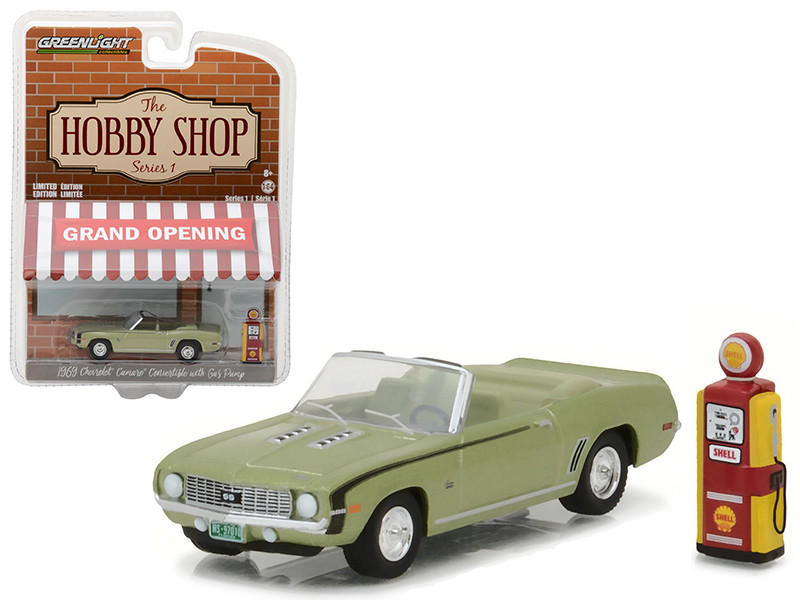1969 Chevrolet Camaro Convertible Green with Vintage Gas Pump The Hobby Shop Series 1 1/64 Diecast Model Car Greenlight 97010 B