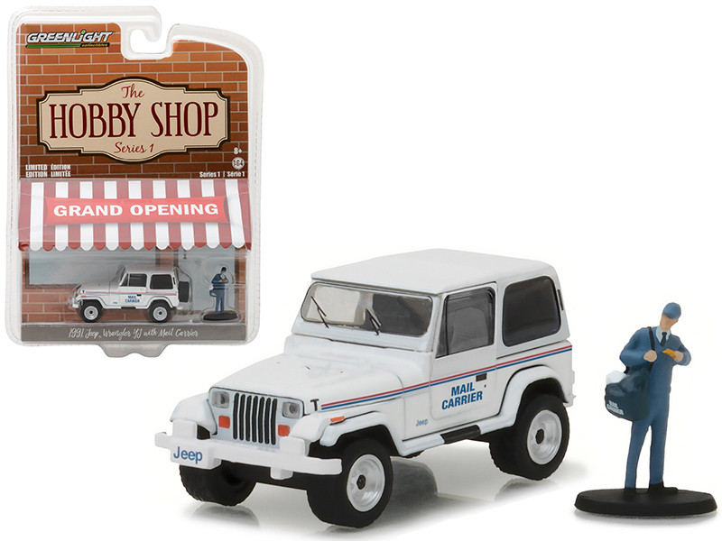 1991 Jeep Wrangler YJ USPS with USPS Mail Carrier The Hobby Shop Series 1 1/64 Diecast Model Car Greenlight 97010 D