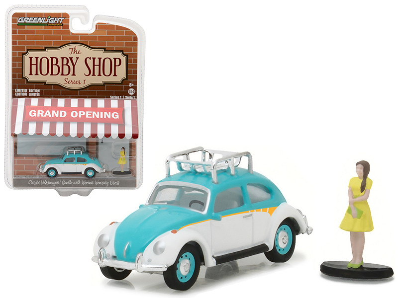 Classic Volkswagen Beetle White and Blue with Roof Rack and Woman in Dress The Hobby Shop Series 1 1/64 Diecast Model Car Greenlight 97010 F