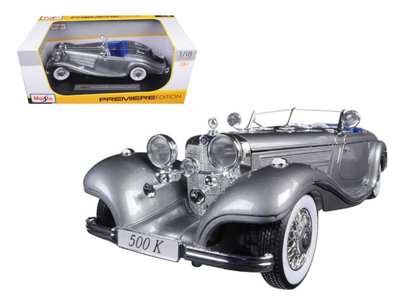 1936 Mercedes 500K Special Roadster Grey 1/18 Diecast Model Car Maisto 36862