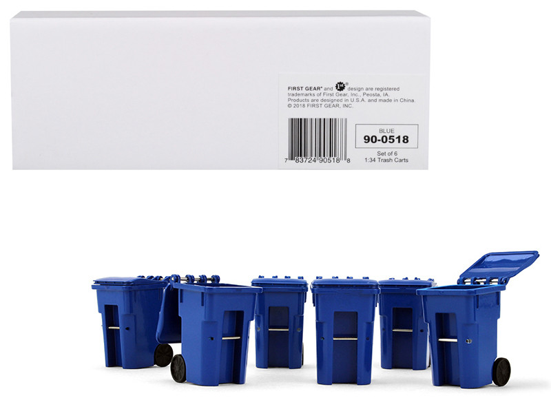 Set of 6 Blue Garbage Trash Bin Containers Replica 1/34 First Gear 90-0518