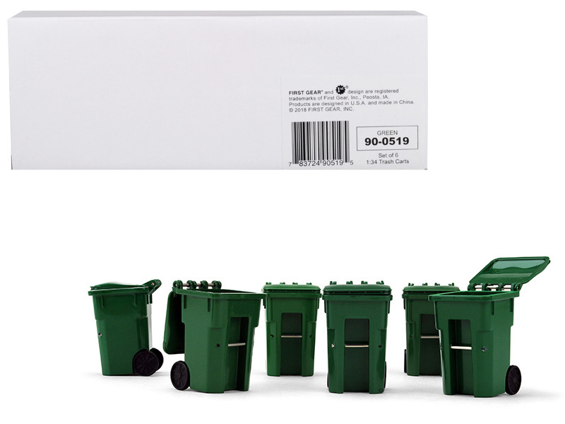 Set of 6 Green Garbage Trash Bin Containers Replica 1/34 First Gear 90-0519