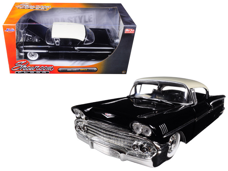 1958 Chevrolet Impala Black Showroom Floor 1/24 Diecast Model Car Jada 98895